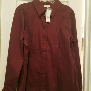 New York & Company burgundy button down shirt